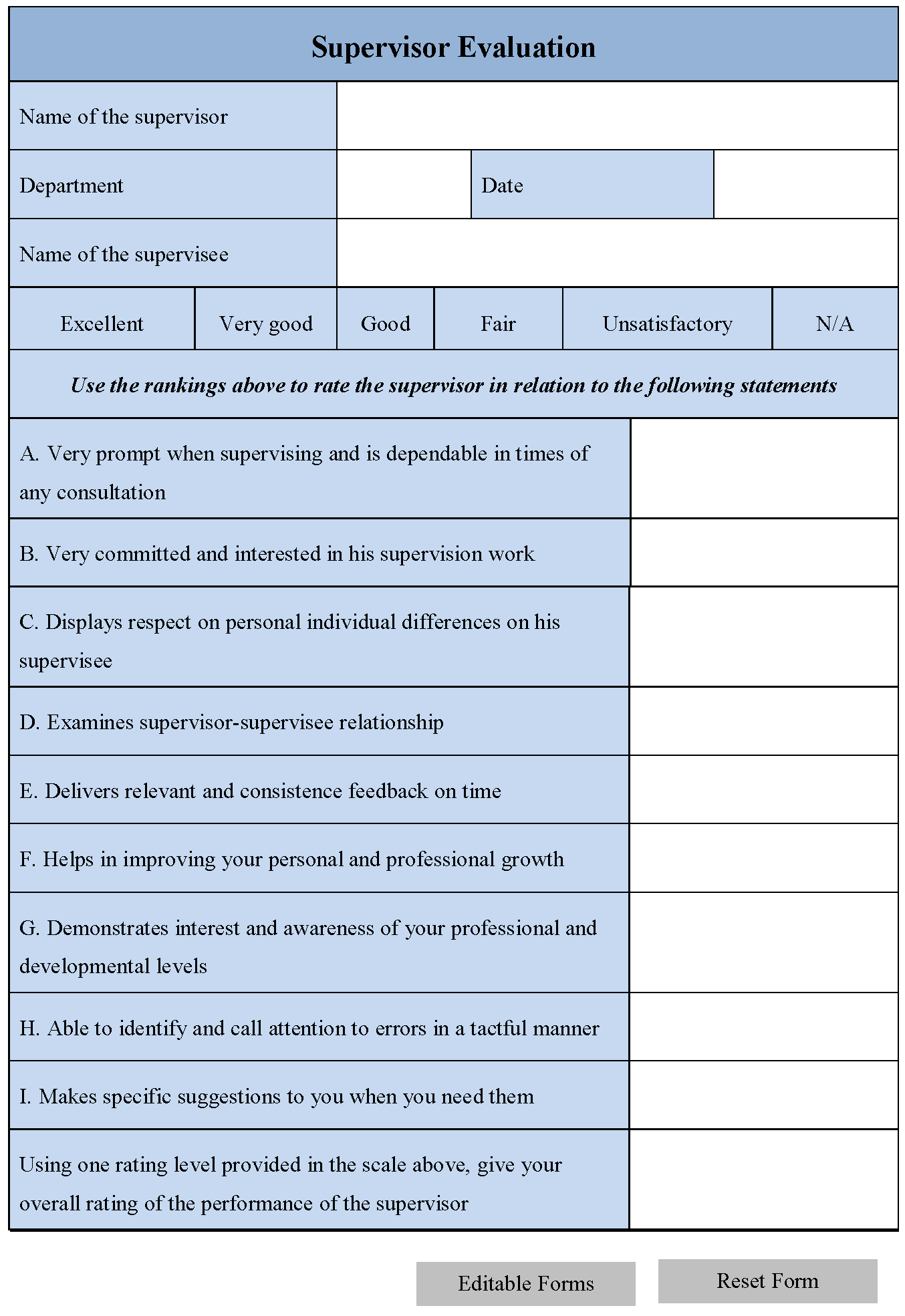 Supervisor Evaluation Form