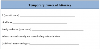 Free temporary power of attorney form editable forms for Temporary power of attorney template