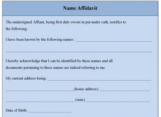 Name Affidavit Form