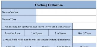 Teaching Evaluation Form
