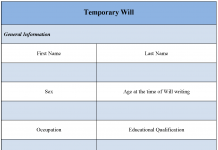 Temporary Will Form