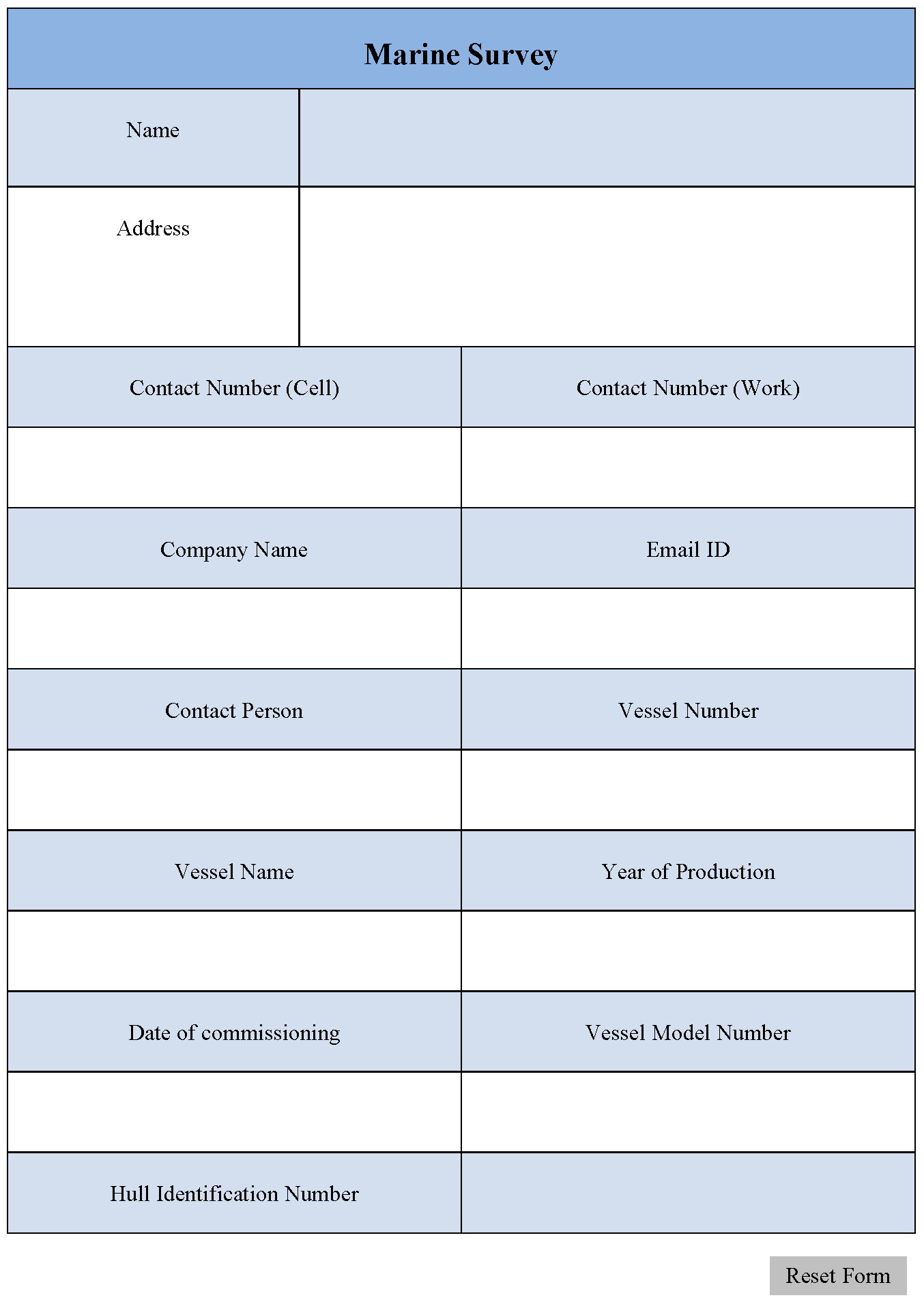 Marine Survey Form