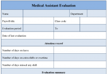 Medical Assistant Evaluation Form