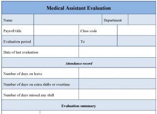 Medical Assistant Evaluation Form