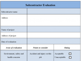 Subcontractor Evaluation Form