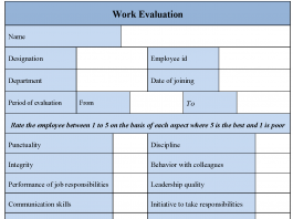 Work Evaluation Form