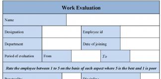 Work Evaluation Form