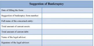 Suggestion of Bankruptcy Form