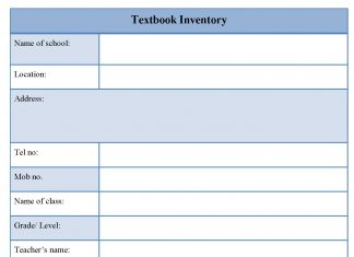 Textbook Inventory Form