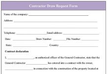 Contractor Draw Request Form