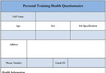 Personal Training Health Questionnaire Form