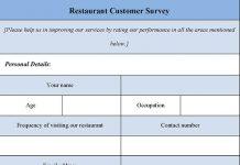 Restaurant Customer Survey Form