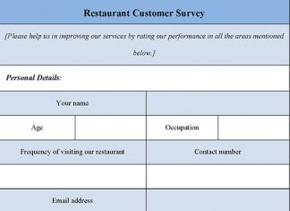 Restaurant Customer Survey Form