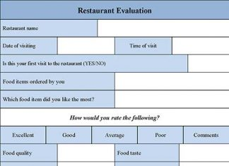 Restaurant Evaluation Form