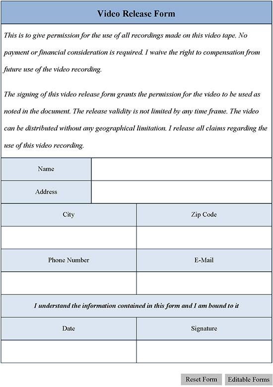 Video Release Form  Editable Forms