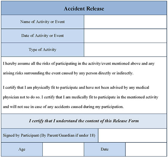 Accident Release Form Word Doc  Editable Forms