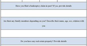 Bankruptcy Questionnaire Form