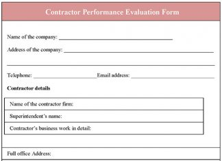 Contractor Performance Evaluation Form