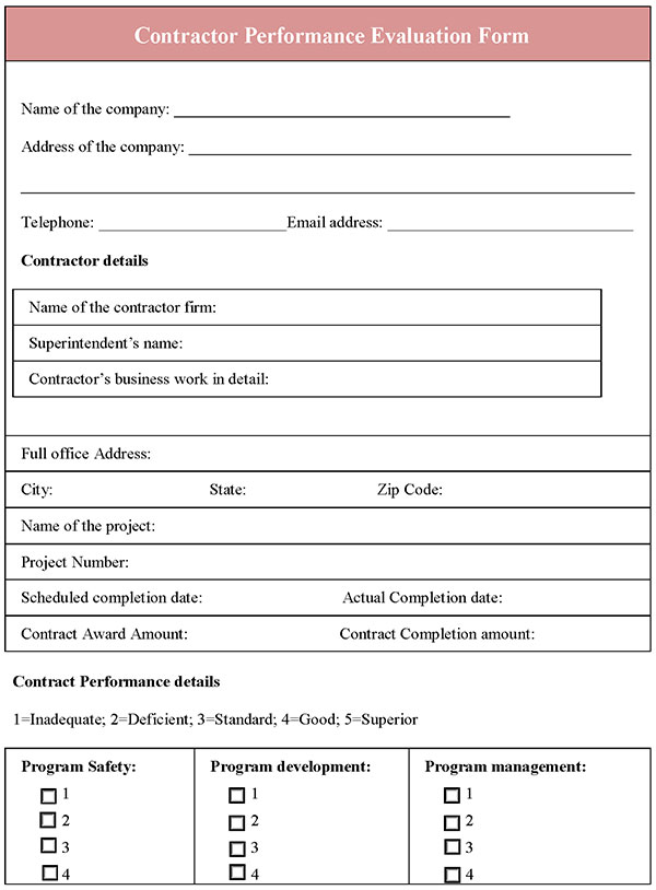 Contractor Performance Evaluation Form  Editable Forms