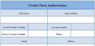 Credit Check Authorization Form