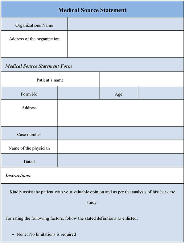 Medical Source Statement Form  Editable Forms