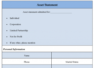 Asset Statement Form