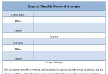 General Durable Power of Attorney Form