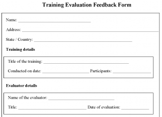 Training evaluation feedback Form