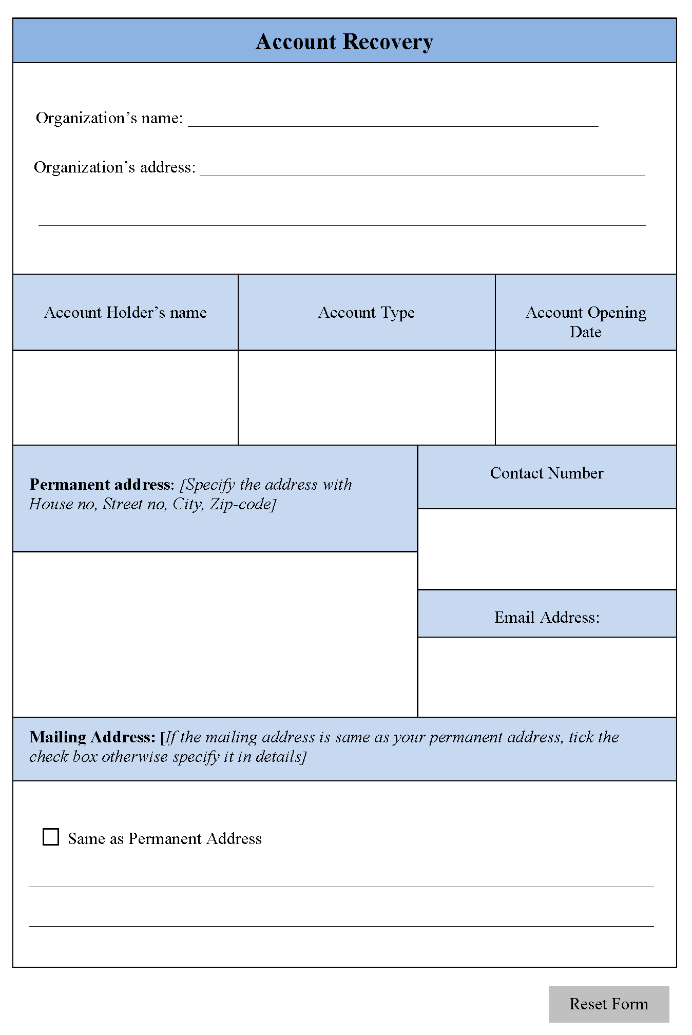 Account Recovery Form | Editable Forms