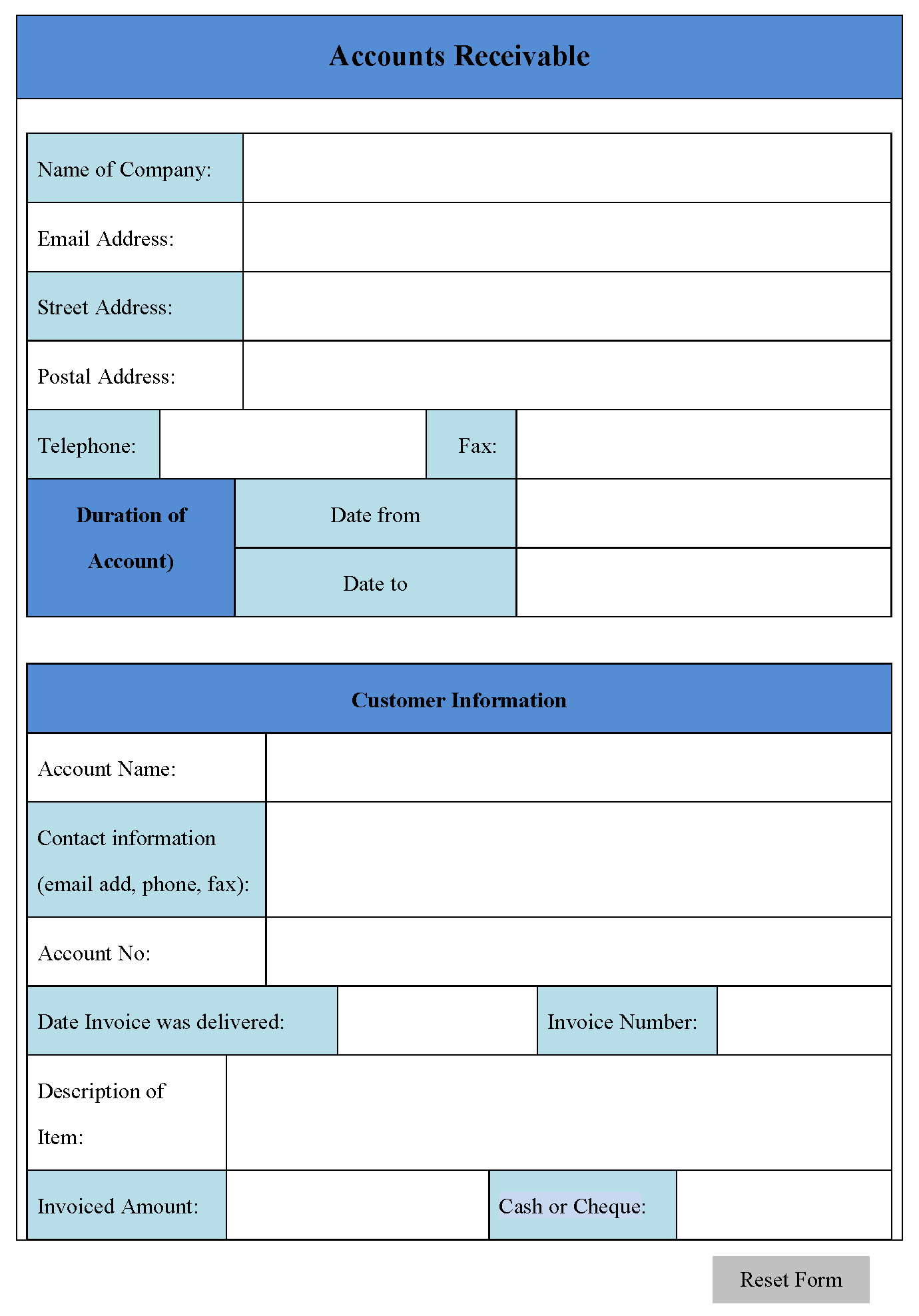 Accounts Receivable Form