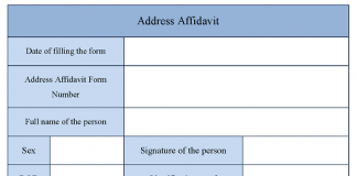 Address Affidavit Form
