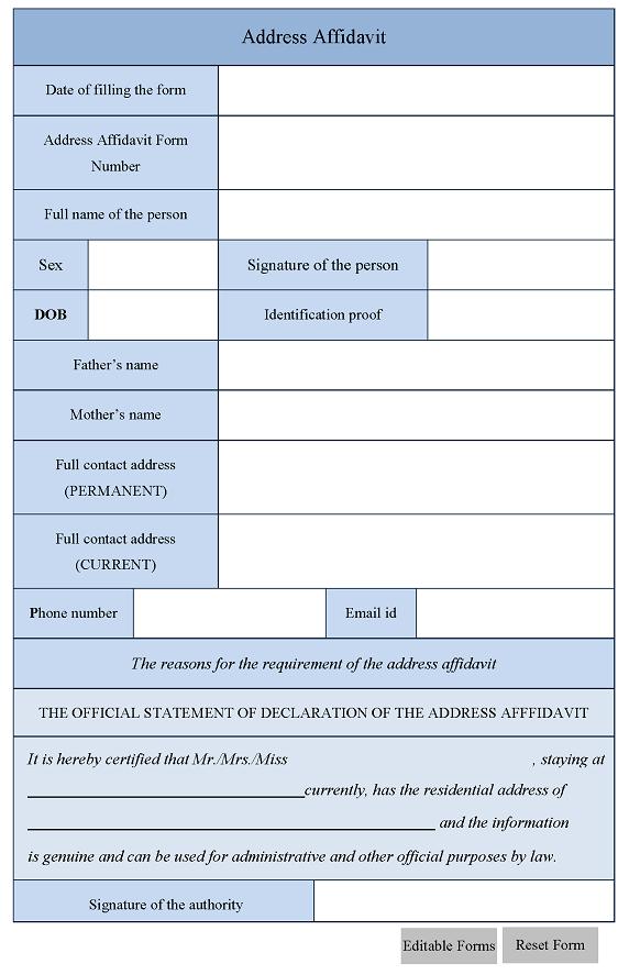 Address Affidavit Form – Address Affidavit Sample
