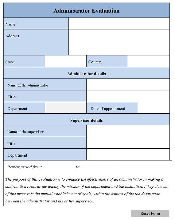Administrator Evaluation Form
