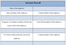Advance Payroll Form