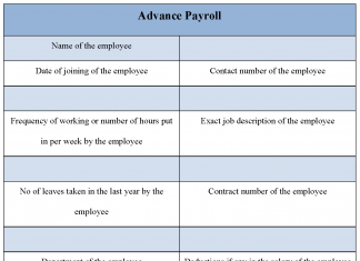 Advance Payroll Form