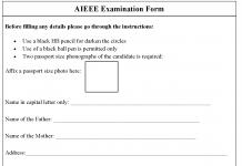 AIEEE Examination Form