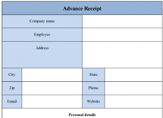 Advance Receipt form