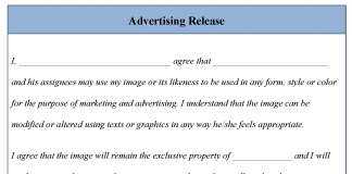 Advertising Release Form