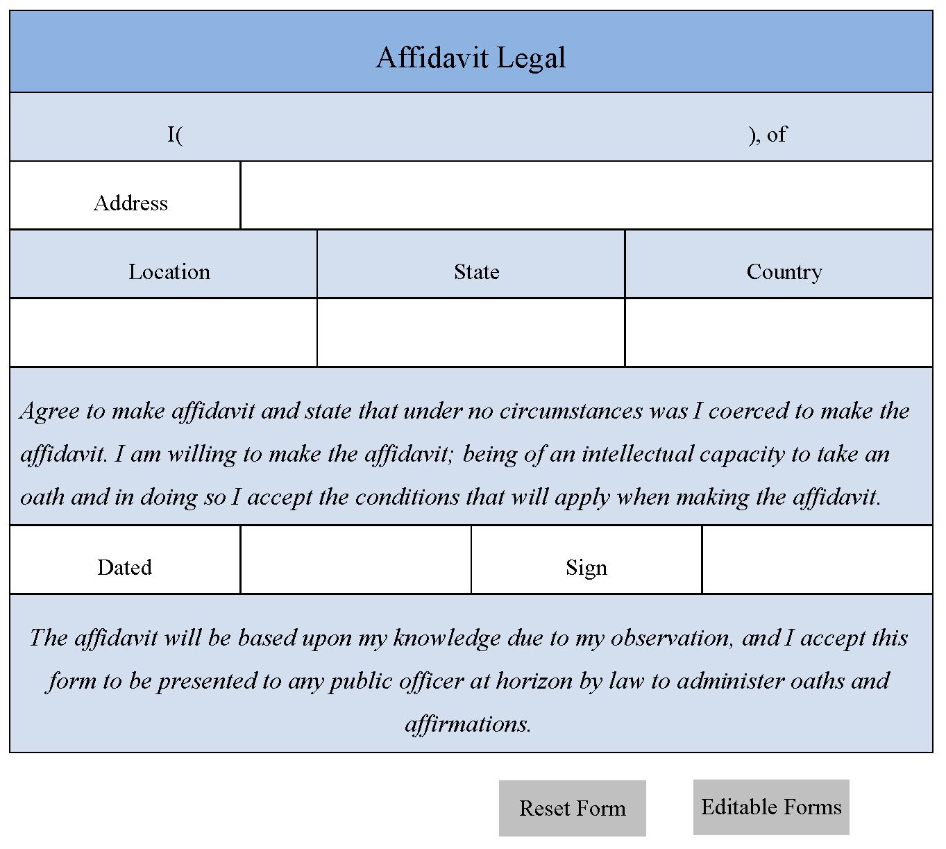 Affidavit Legal Form