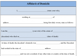 Affidavit of Domicile Form