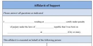 Affidavit of Support Form