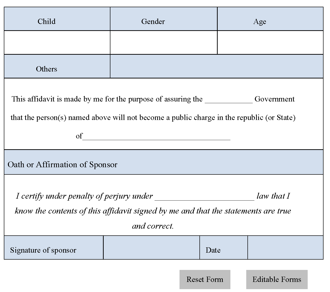 Affidavit of Support Form – Affidavit of Support Form