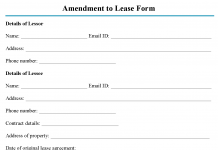 Amendment to Lease Form