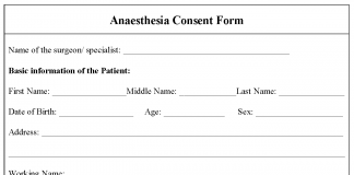 Anaesthesia consent form