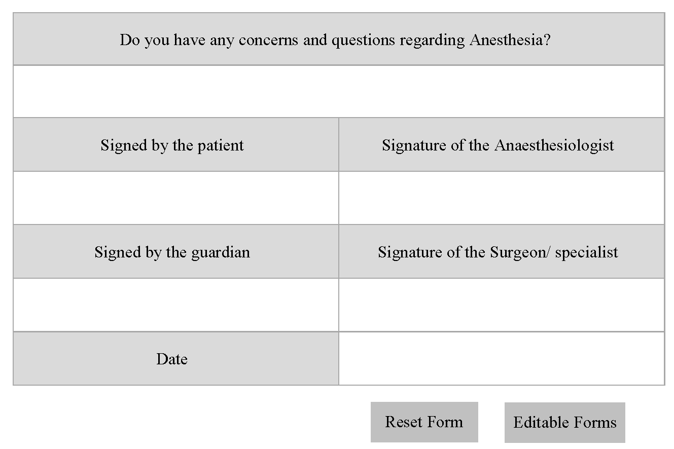 Anaesthesia consent form New