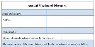 Annual Meeting of Directors Form
