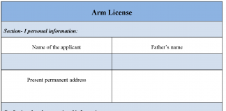 Arm License Form