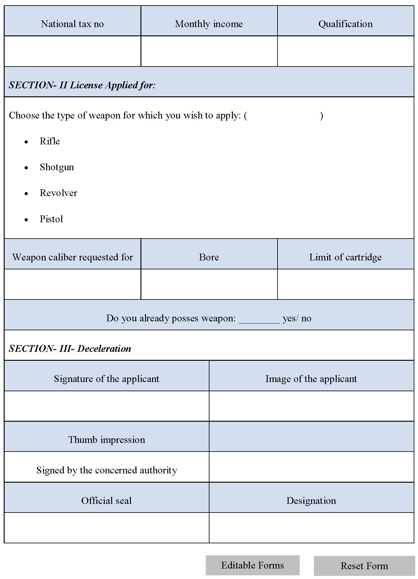 Arm License Form