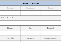 Assets Verification form