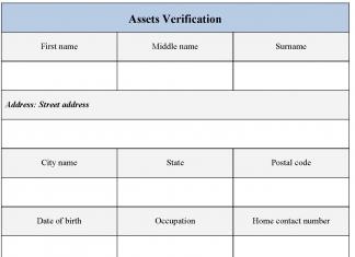 Assets Verification form